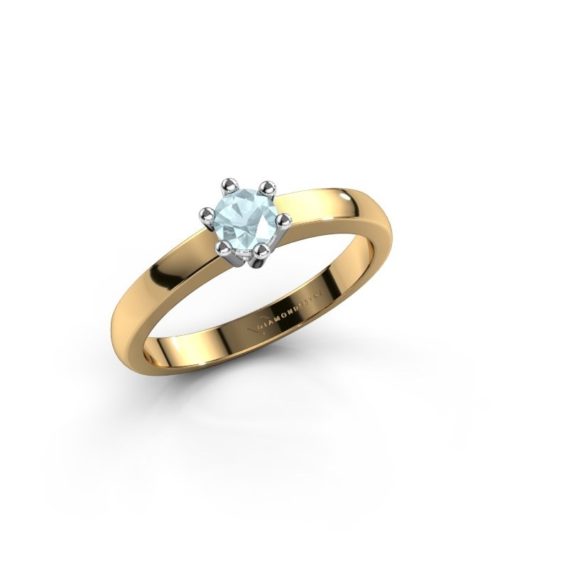 Verlovingsring Luna 1 585 goud aquamarijn 3.7 mm