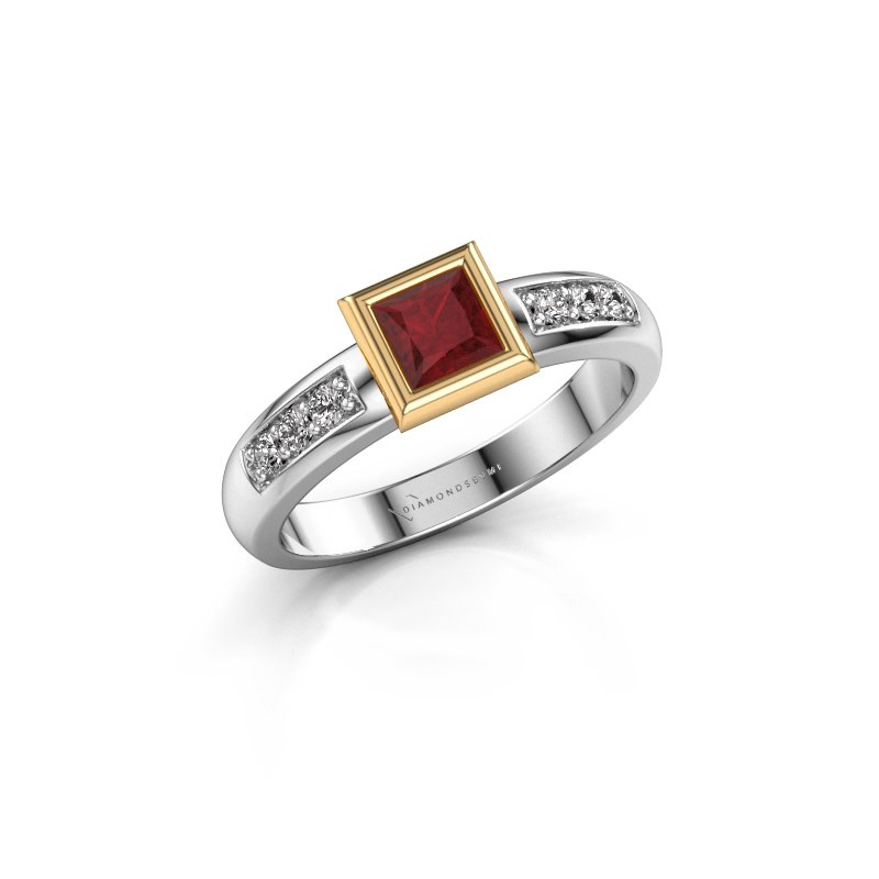 Stacking ring Lieke Square 585 white gold ruby 4 mm