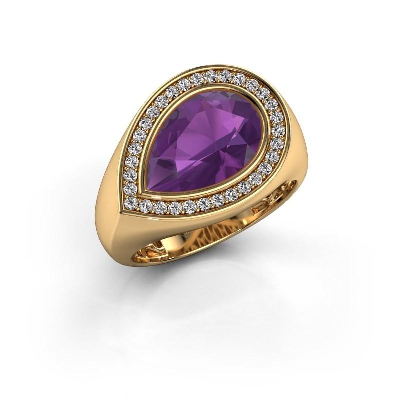 Ring Latashia 585 goud amethist 12x8 mm