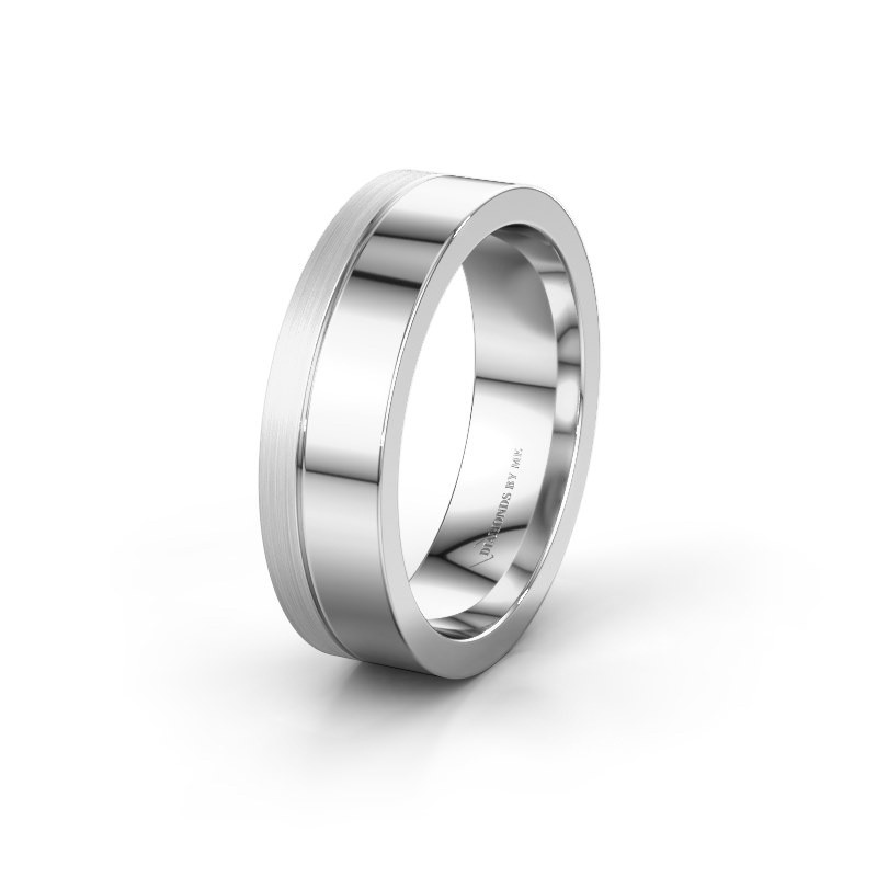 Trouwring WH0329M16B 585 witgoud ±6x2 mm
