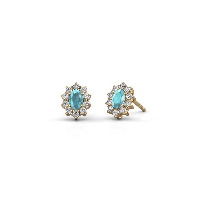 Ohrringe Leesa 375 Gold Blau Topas 6x4 mm