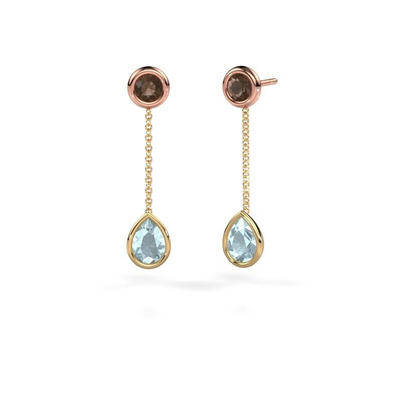 Drop earrings Ladawn 585 gold aquamarine 7x5 mm