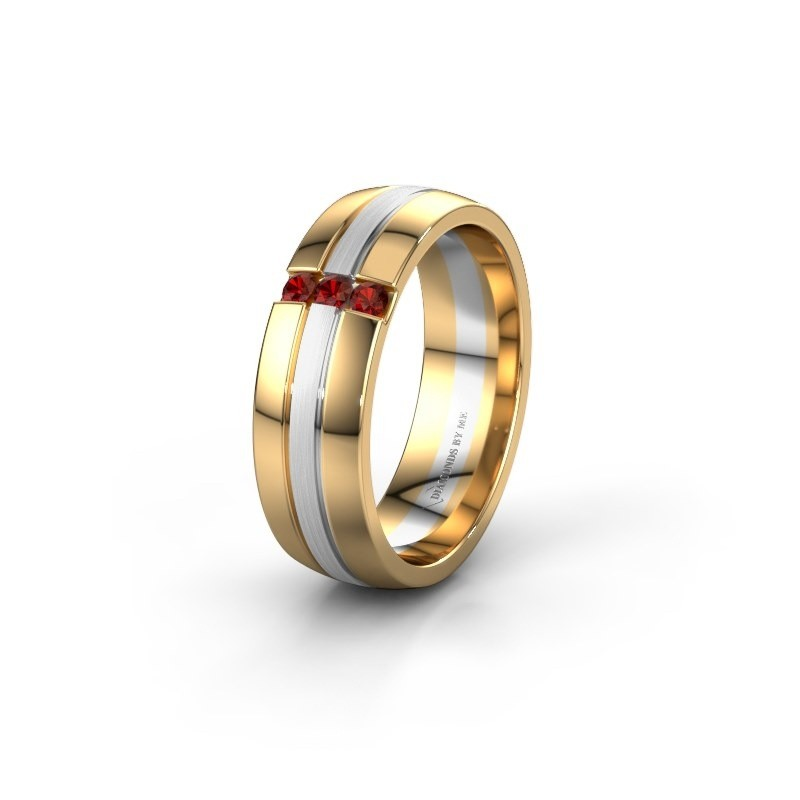 Wedding ring WH0426L26A 585 gold garnet ±6x1.7 mm