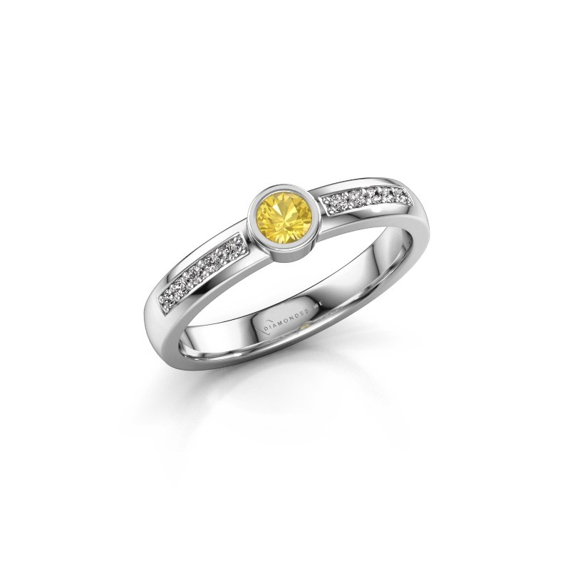 Engagement ring Ise 2 585 white gold yellow sapphire 3.7 mm