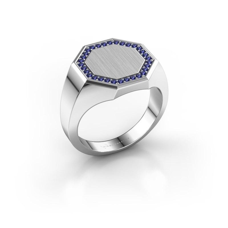 Heren ring Floris Octa 3 585 witgoud saffier 1.2 mm