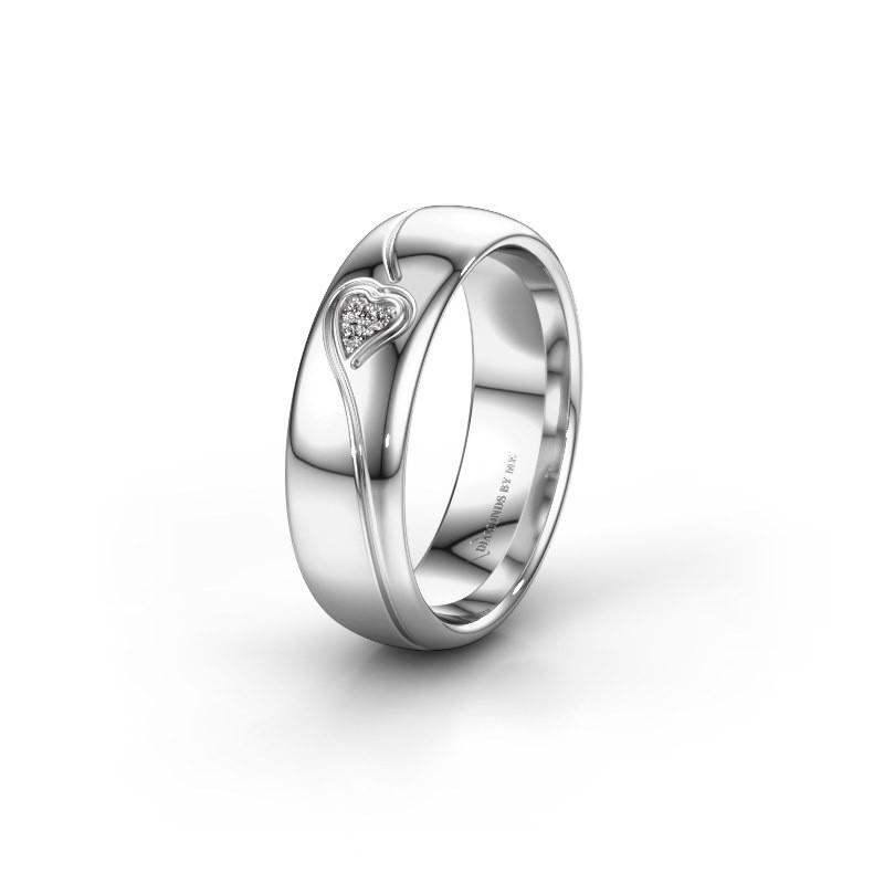 Trouwring WH0168L36AP 585 witgoud diamant ±6x1.7 mm