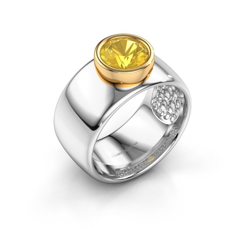 Ring Klarinda 585 Weißgold Gelb Saphir 7 mm