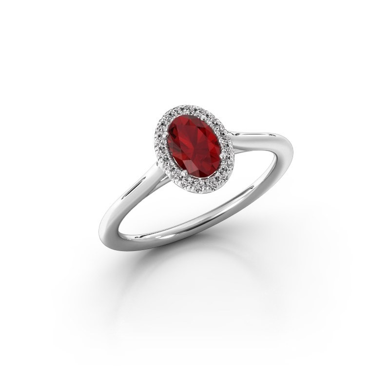 Engagement ring Seline 1 950 platinum ruby 6x4 mm
