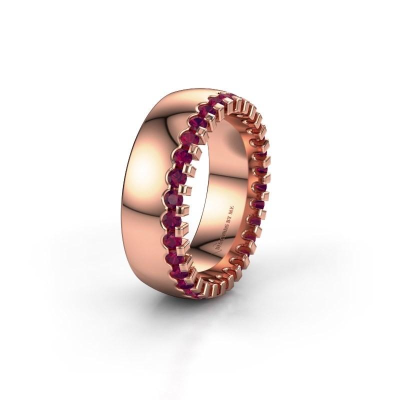 Trouwring WH6120L27C 375 rosé goud rhodoliet ±7x2.2 mm