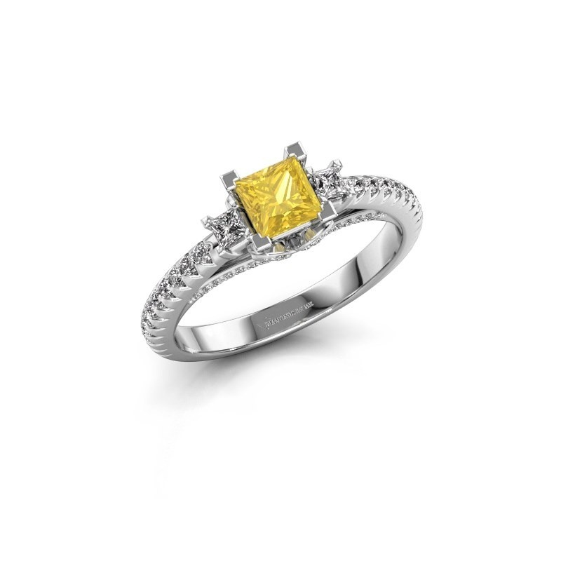 Bague de fiançailles Valentina 585 or blanc saphir jaune 4.25 mm