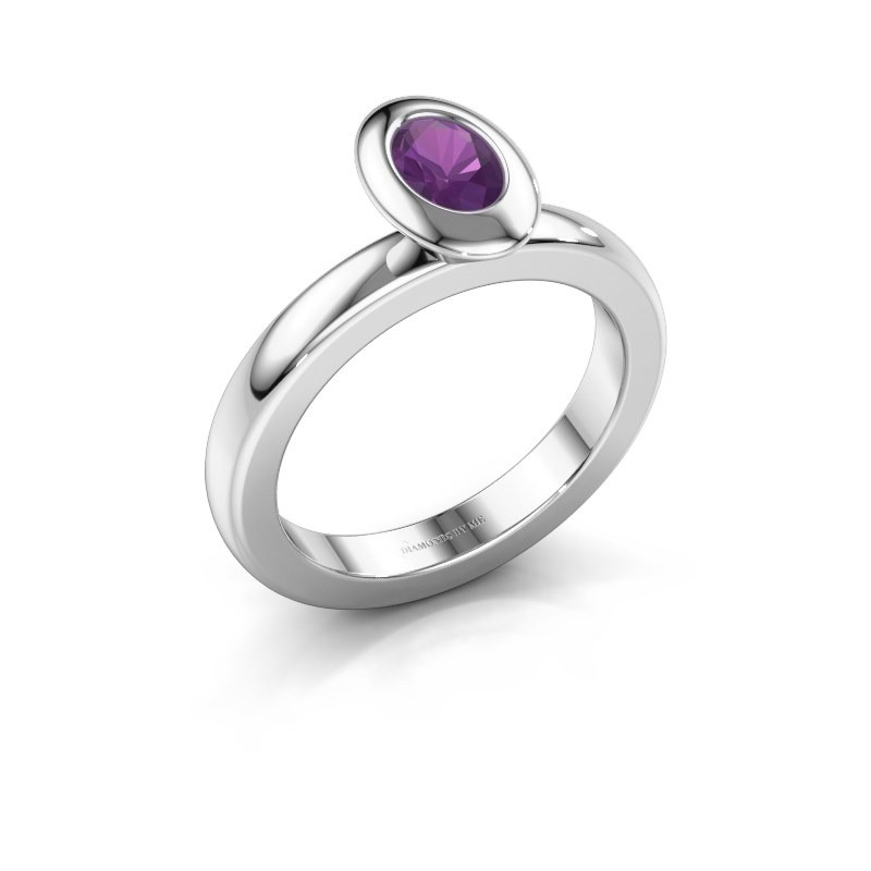 Stacking ring Trudy Oval 925 silver amethyst 6x4 mm