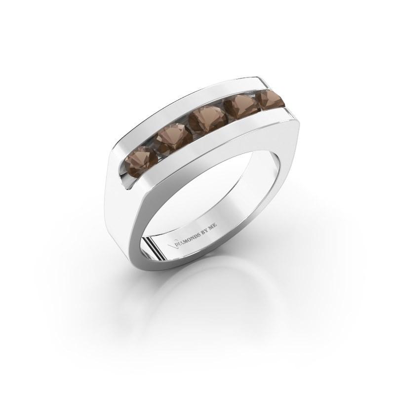 Men's ring Richard 950 platinum smokey quartz 4 mm