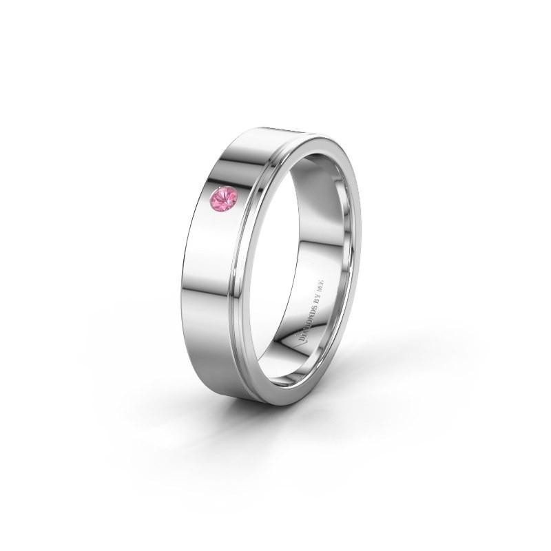 Trouwring WH0501L15AP 585 witgoud roze saffier ±5x1.7 mm