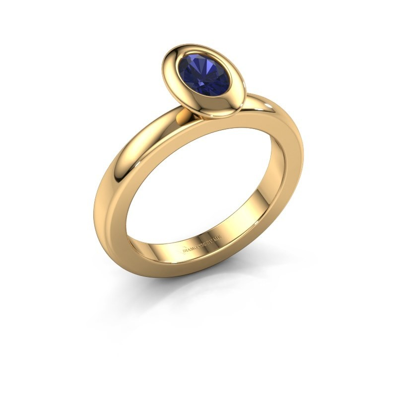 Stapelring Trudy Oval 585 goud saffier 6x4 mm