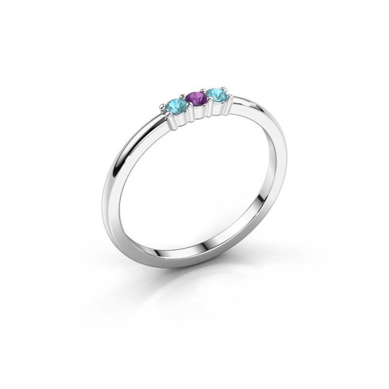Engagement ring Yasmin 3 950 platinum amethyst 2 mm