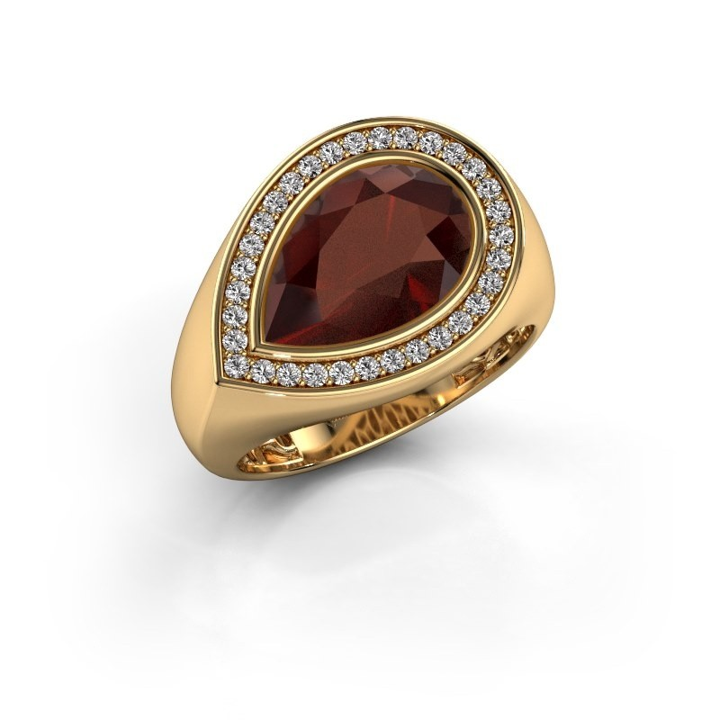 Ring Latashia 585 goud granaat 12x8 mm