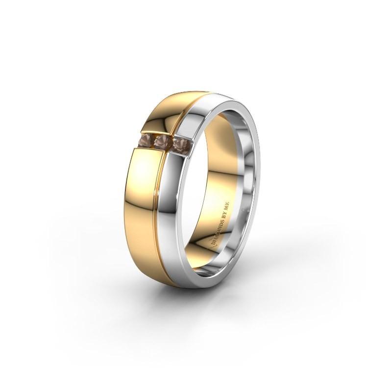 Wedding ring WH0223L56A 585 gold smokey quartz ±6x1.7 mm