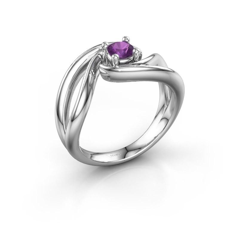 Ring Kyra 585 witgoud amethist 4 mm