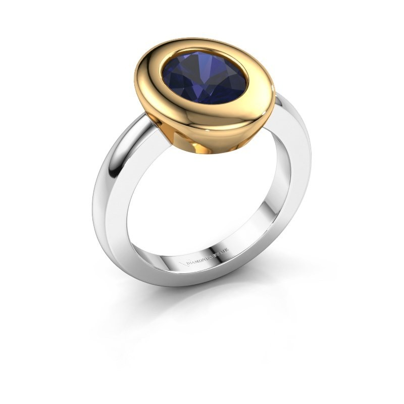 Ring Selene 1 585 witgoud saffier 9x7 mm