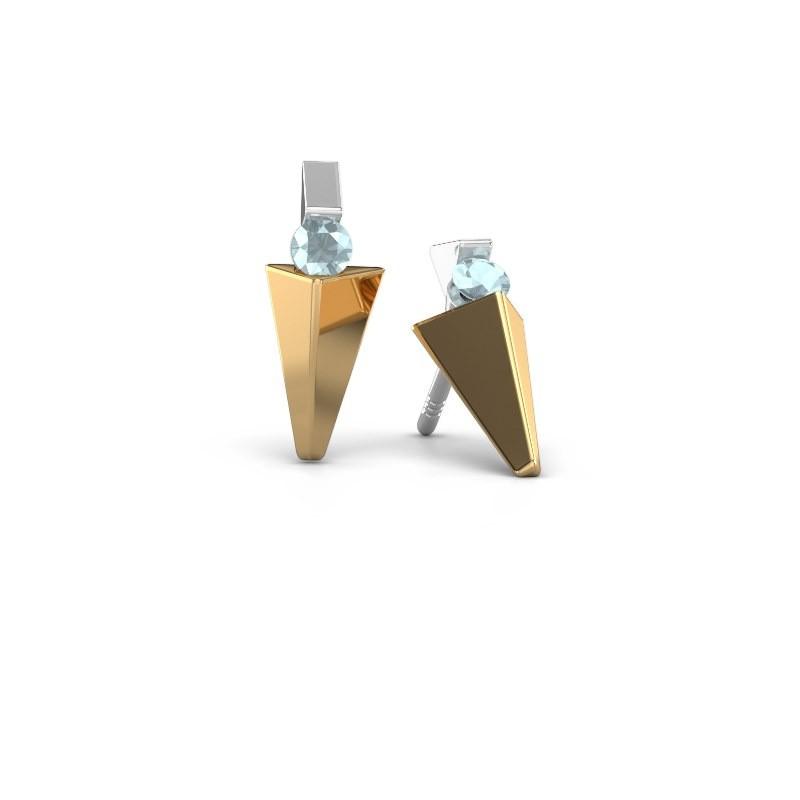 Oorbellen Corina 585 goud aquamarijn 3 mm