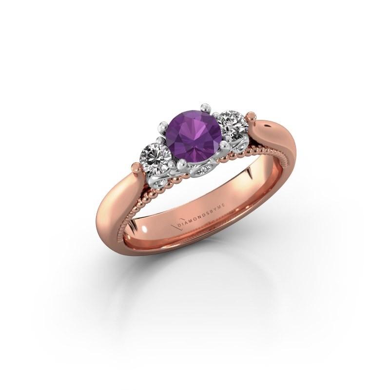 Verlovingsring Tiffani 585 rosé goud amethist 5 mm