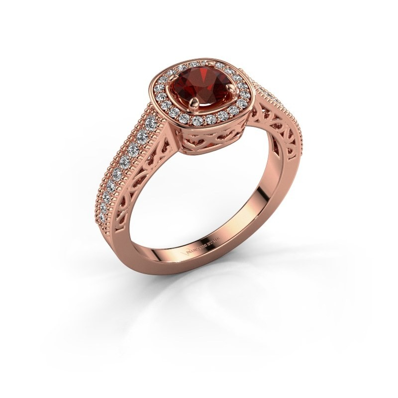 Verlovings ring Candi 375 rosé goud granaat 5 mm