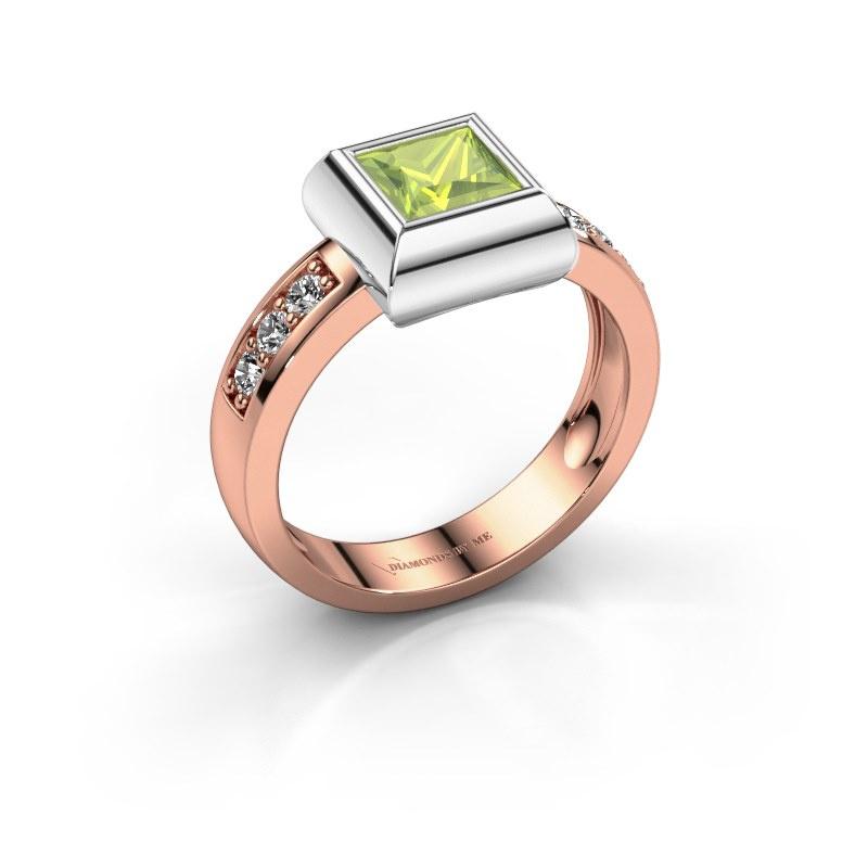 Ring Charlotte Square 585 rose gold peridot 5 mm