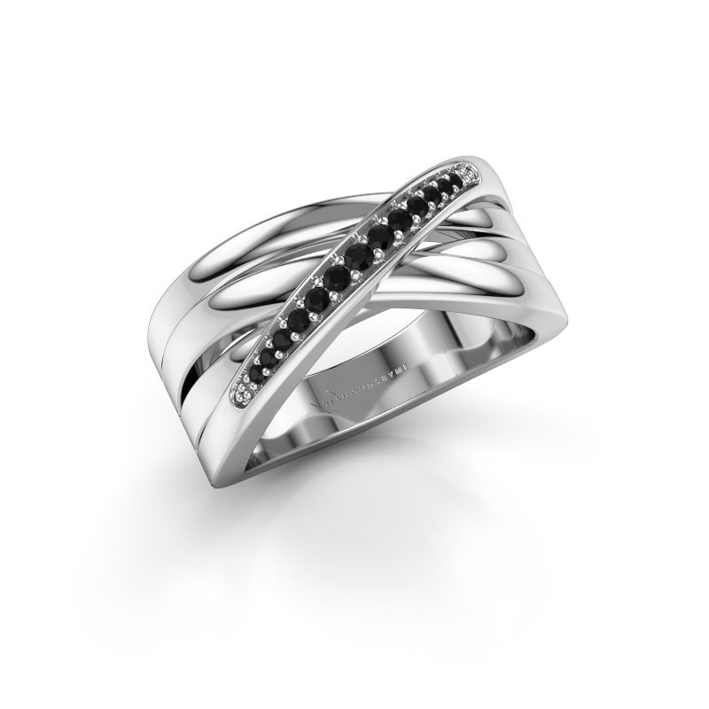 Ring Renna 2 585 white gold black diamond 0.147 crt