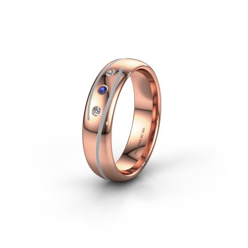 Trouwring WH0152L25A 585 rosé goud saffier ±5x1.7 mm