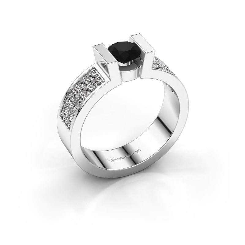 Verlovingsring Lieve 3 925 zilver zwarte diamant 0.60 crt
