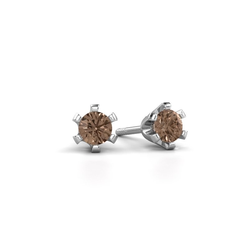 Oorstekers Shana 585 witgoud bruine diamant 0.25 crt