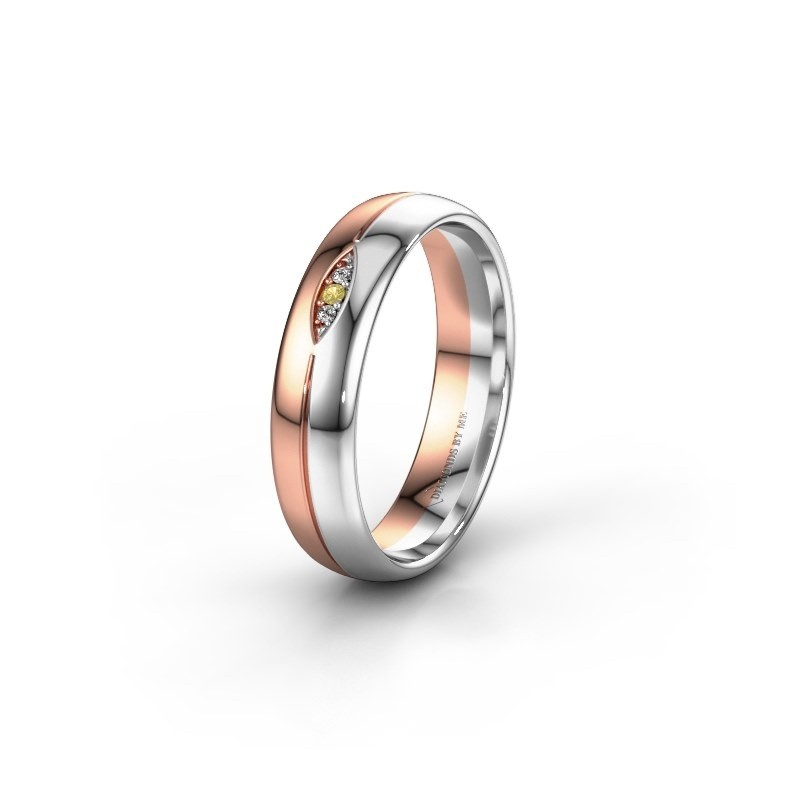 Wedding ring WH0219L35X 585 rose gold yellow sapphire ±5x1.4 mm