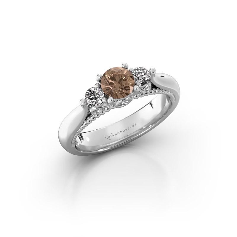 Verlovingsring Tiffani 585 witgoud bruine diamant 0.74 crt