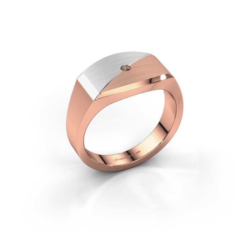 Heren ring Joe 5 585 rosé goud bruine diamant 0.03 crt