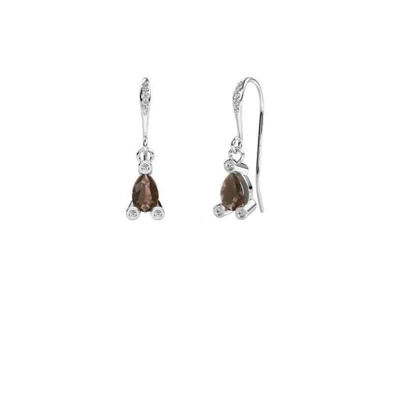 Drop earrings Bunny 2 375 white gold smokey quartz 7x5 mm