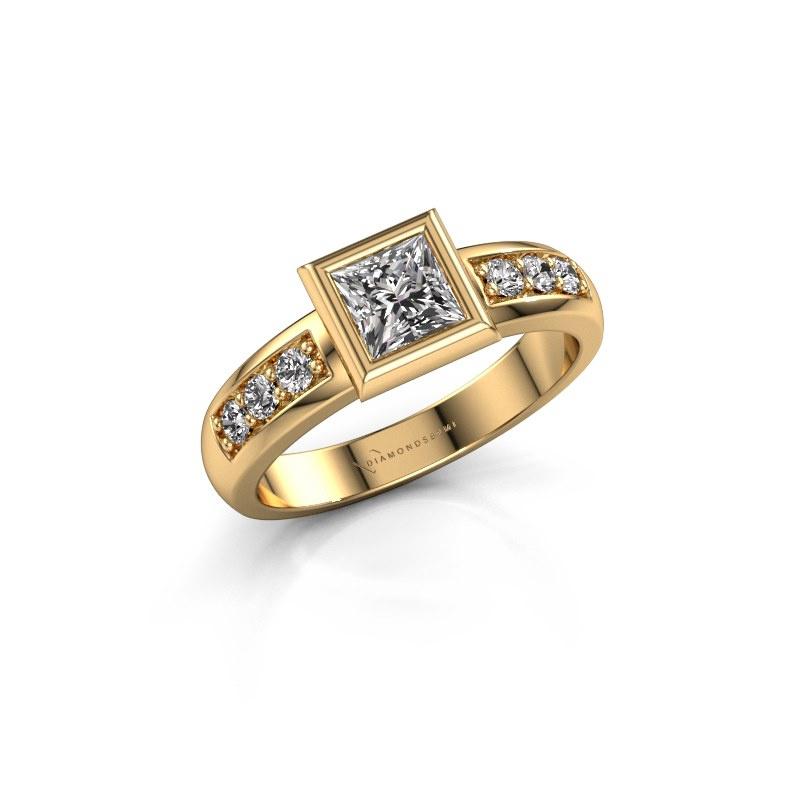 Bague superposée Lieke Square 585 or jaune diamant 0.680 crt