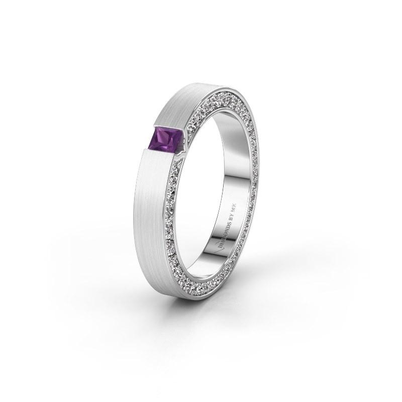 Wedding ring WH2140L14B 925 silver amethyst ±3,5x2 mm