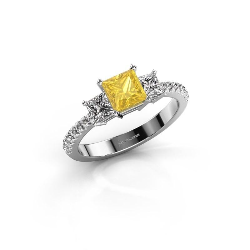 Verlobungsring Dorla 585 Weißgold Gelb Saphir 5 mm