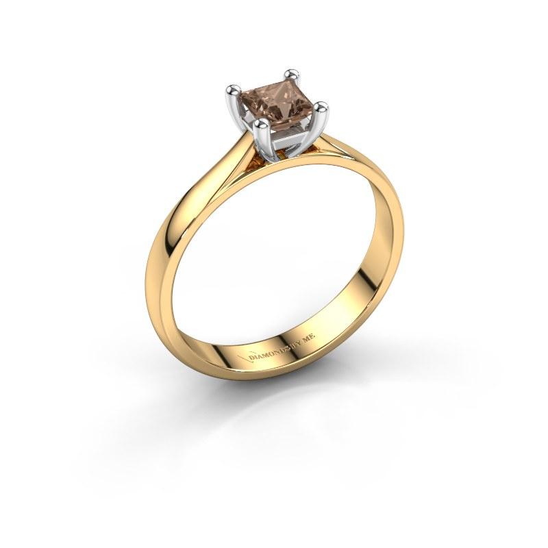 Verlobungsring Sam Square 585 Gold Braun Diamant 0.40 crt