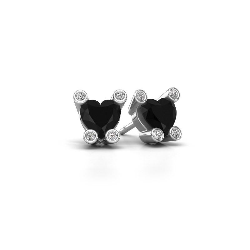 Oorstekers Cornelia Heart 375 witgoud zwarte diamant 1.96 crt