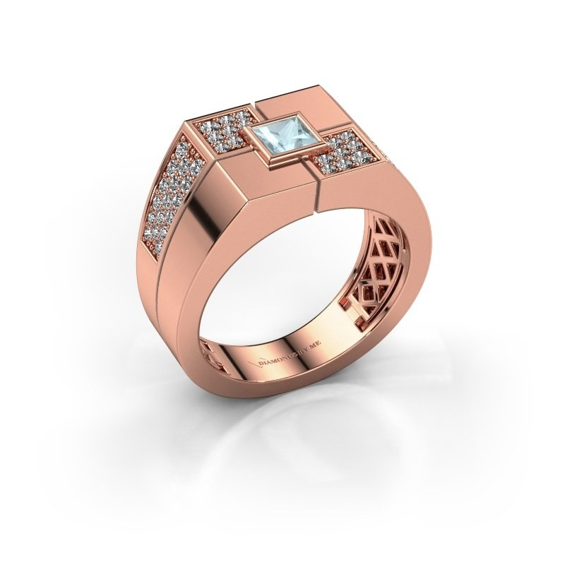 Men's ring Rogier 375 rose gold aquamarine 4 mm