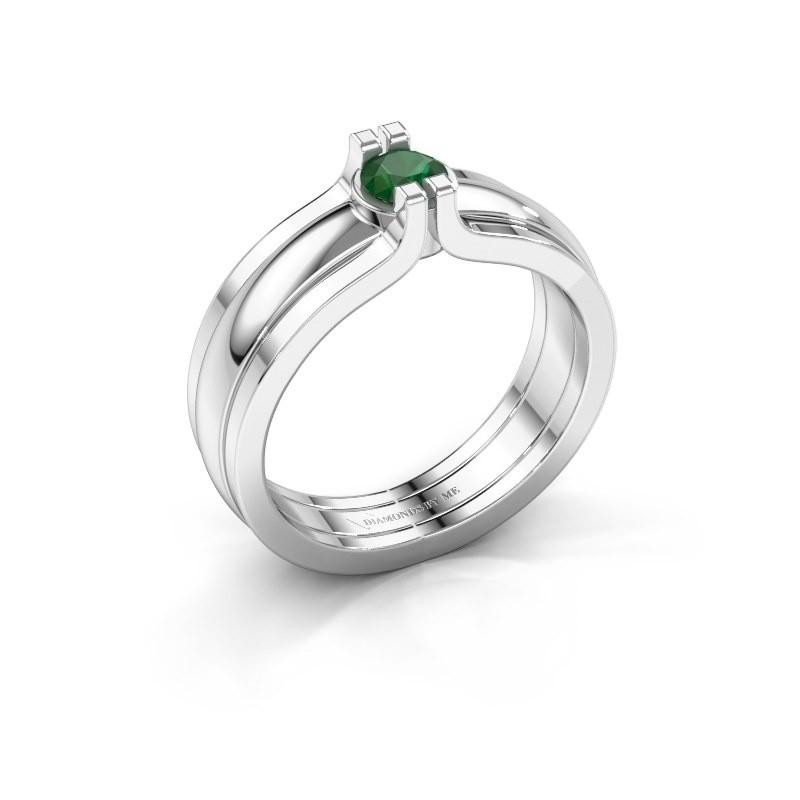Bague Jade 925 argent emeraude 4 mm