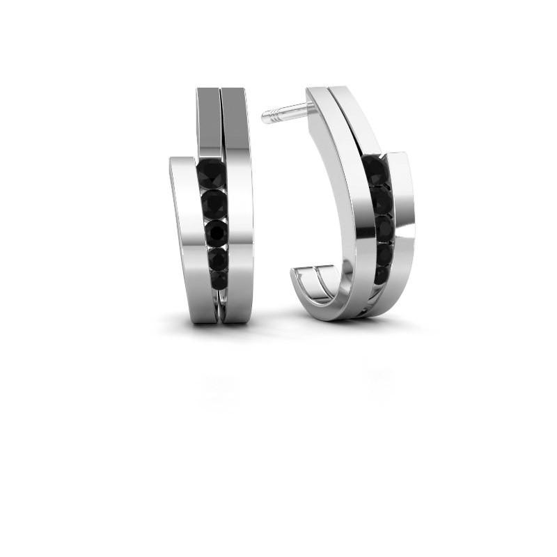 Oorbellen Cato 925 zilver zwarte diamant 0.30 crt