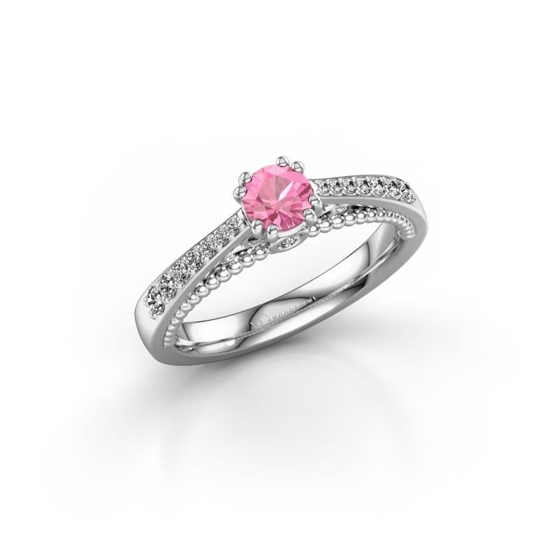 Verlovingsring Rozella 950 platina roze saffier 4.2 mm