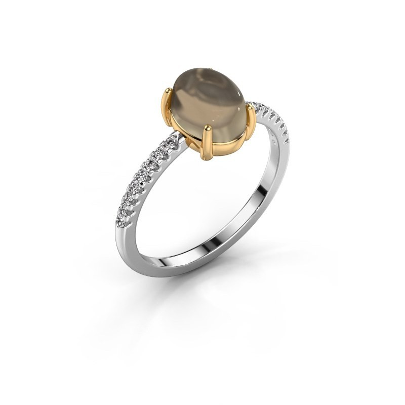 Ring Becky 585 witgoud rookkwarts 8x6 mm