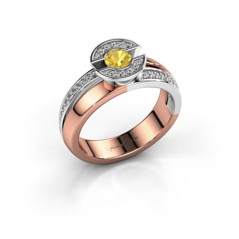 Ring Jeanet 2 585 rose gold yellow sapphire 4 mm