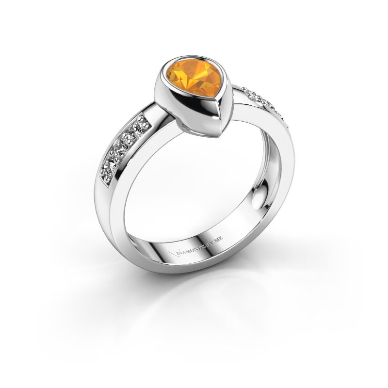 Ring Charlotte Pear 585 white gold citrin 8x5 mm