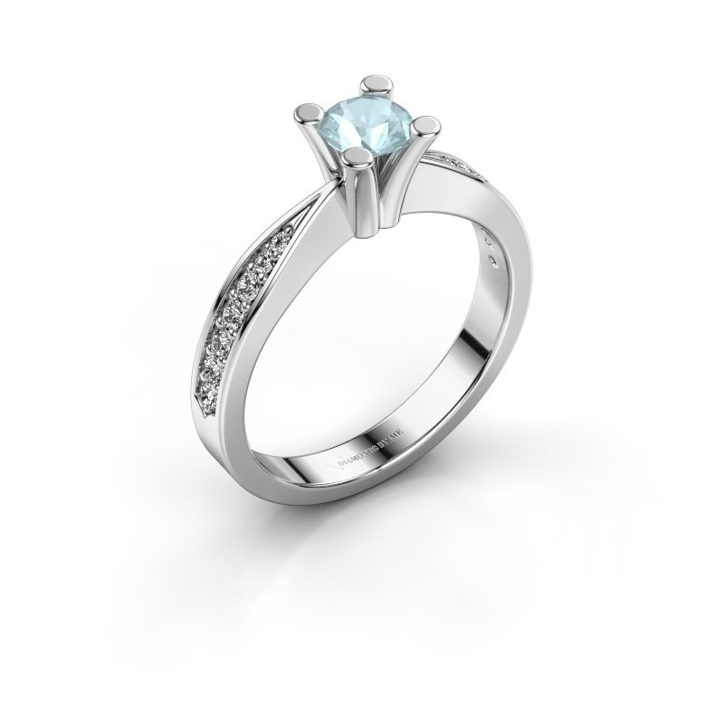 Promise ring Ichelle 2 950 platina aquamarijn 4.7 mm