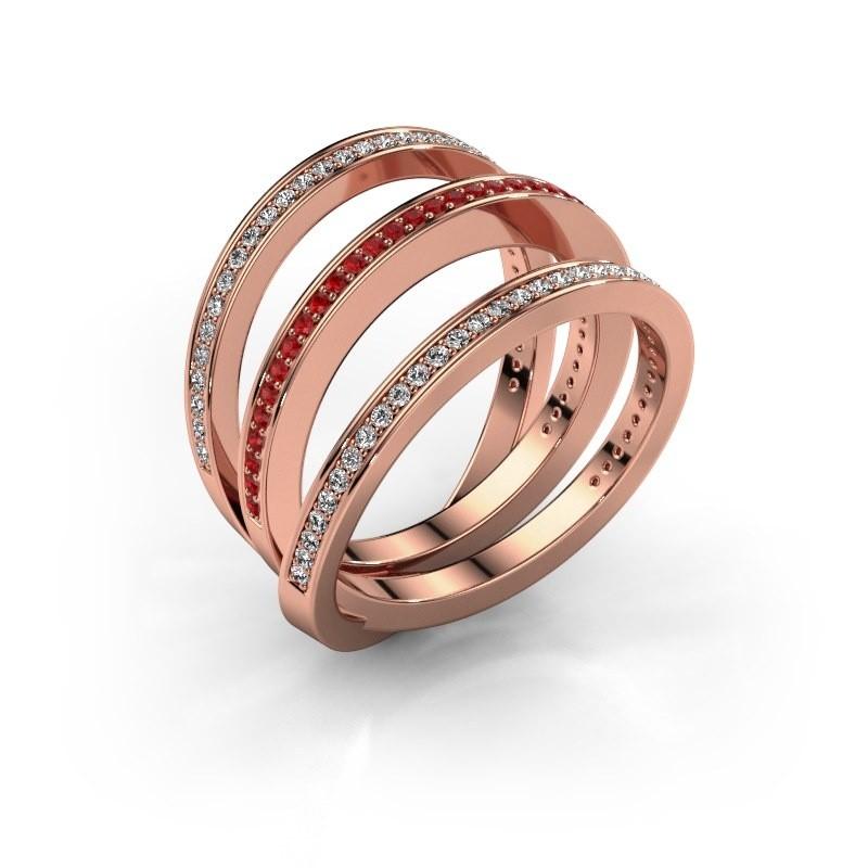Ring Jaqueline 375 rosé goud robijn 1 mm