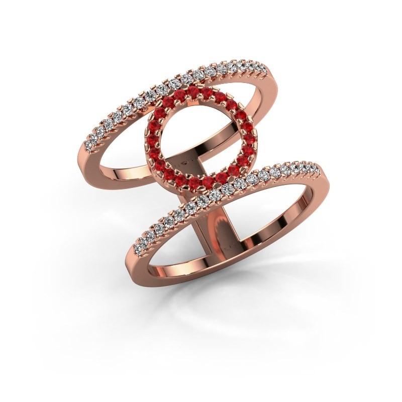 Ring Latoria 2 375 rosé goud robijn 1.1 mm